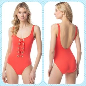 MICHEAL KORS LACE UP ONE-PIECE SWIMSUIT